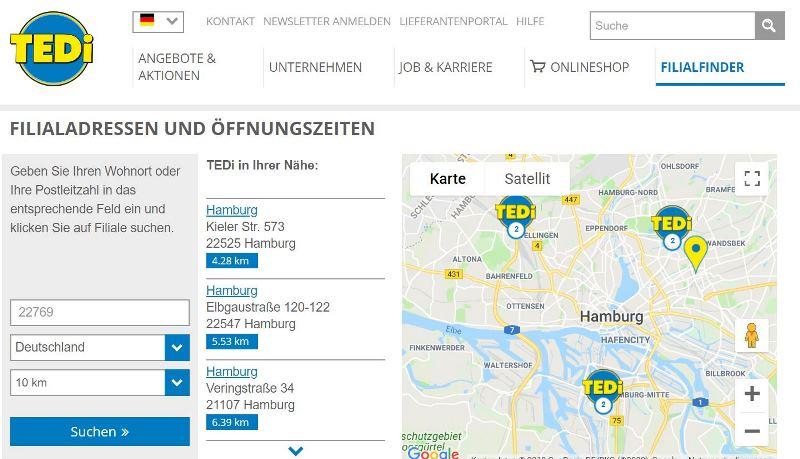 TEDI Shop Hamburg Filialen
