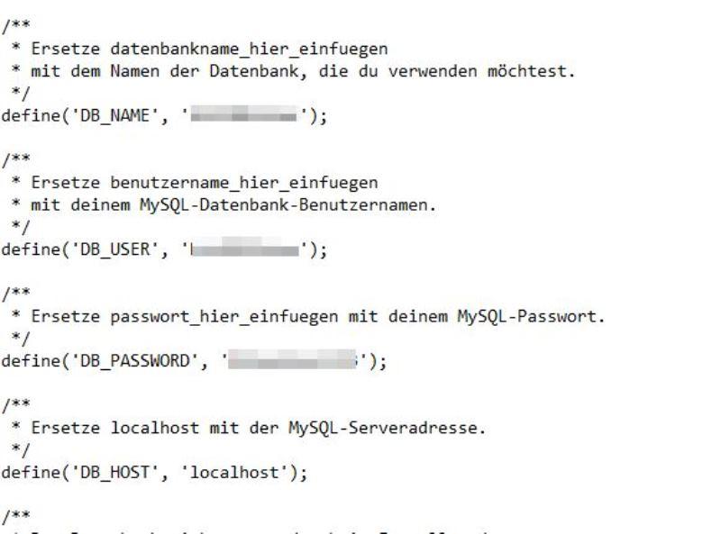 Config.php Daten Informationen einfügen - Happy Home Hamburg von Jessica