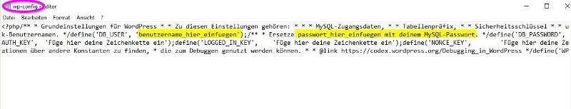 Config Datei anpassen und ändern mit Benutzerdaten - Happy Home Hamburg von Jessica