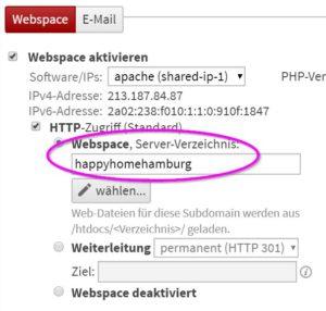 Zielordner Backend Provider einrichten f WordPress - Happy Home Hamburg von Jessica