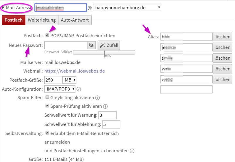 Emailadresse einrichten auf Website - Happy Home Hamburg von Jessica